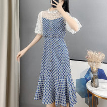 Dress Summer 2021 blue S M L XL Mid length dress singleton  Short sleeve commute Crew neck High waist Dot Socket Ruffle Skirt Pile sleeve Others 18-24 years old Type A Sally & Lina / mililina lady M1674 More than 95% other other Other 100% Pure e-commerce (online only)