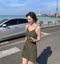 Dress Summer 2020 Red, green, black S,M,L Short skirt singleton  Sleeveless commute V-neck High waist Solid color A-line skirt routine Others 51% (inclusive) - 70% (inclusive) other