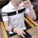 T-shirt Youth fashion thin M,L,XL,2XL,3XL,4XL Others Short sleeve Lapel Self cultivation daily summer T8001 Polyester 75% cotton 25% youth routine tide Bead mesh 2021 stripe Color contrast No iron treatment