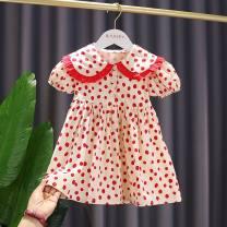 Dress gules female Other / other 80cm,90cm,100cm,110cm,120cm,130cm Cotton 100% summer Korean version Dot cotton A-line skirt 12 months, 18 months, 2 years old, 3 years old, 4 years old, 5 years old, 6 years old, 7 years old, 8 years old