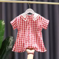 Dress Red, beige female Other / other The recommended height is about 80cm, tag 80, 85CM, tag 90, 90cm, tag 100, 95cm, tag 110 and 100-105cm, tag 120 Other 100% spring and autumn college Short sleeve lattice cotton Irregular Chinese Mainland Zhejiang Province Taizhou City