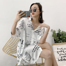 Nightdress Other / other Letter shirt nightdress 160(M),165(L) Simplicity Short sleeve Leisure home Middle-skirt summer letter youth Shirt collar Polyester (polyester) printing More than 95% Iced silk