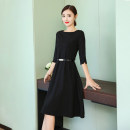 Dress Spring of 2019 Black quarter sleeve (for belt), red quarter sleeve (for belt), black long sleeve (for belt), red long sleeve (for belt), black short sleeve (for belt) S,M,L,XL,2XL,3XL,4XL Mid length dress singleton  three quarter sleeve commute Crew neck High waist Solid color zipper other H819