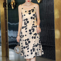 Dress Summer 2021 Leopard print on rice bottom, black flower on rice bottom S,M,L,XL Mid length dress singleton  Sleeveless commute V-neck High waist Broken flowers Socket A-line skirt other camisole 30-34 years old Type A RICE&ROSE Simplicity Backless, printed R8123XZYD220 Silk and satin silk