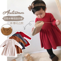 Dress female Other / other 66cm,73cm,80cm,90cm,100cm,110cm,120cm Cotton 100% winter princess Long sleeves Solid color cotton Pleats Class A 3 months, 12 months, 6 months, 9 months, 18 months, 2 years old, 3 years old, 4 years old, 5 years old, 6 years old, 7 years old Chinese Mainland