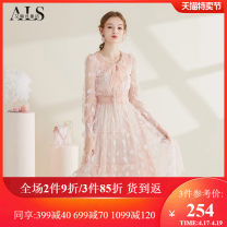 Dress Autumn 2020 Pink S M L XL XXL Middle-skirt singleton  Long sleeves Sweet Crew neck High waist Solid color Socket Princess Dress Princess sleeve 25-29 years old Type A Alice's Fairy Tales 51% (inclusive) - 70% (inclusive) nylon princess