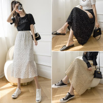 skirt Spring 2021 S M L XL Black white yellow Mid length dress commute High waist A-line skirt Dot Type A Chiffon Miyakaman printing