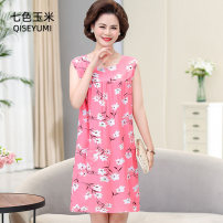 Middle aged and old women's wear Summer 2020 commute Dress easy singleton  Broken flowers Socket Crew neck Medium length Seven color corn other Other 100% 96% and above Exclusive payment of tmall
