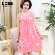 Middle aged and old women's wear Summer of 2019 1, 2, 3, 4, 5, 6, 7, 8, 9, 10, 11, 12, new 1, new 2, new 3, new 4, new 5, new 6, New 7, new 8 Average size [90-140 Jin] Dress easy singleton  Flower and bird pattern Socket Crew neck Medium length QSYMQZ0 Seven color corn other Other 100% 96% and above