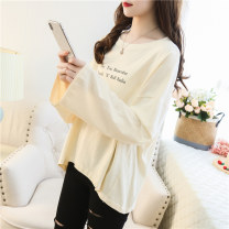 T-shirt 8077 * apricot 8077 * white 8079 * brick red 8079 * BLACK 8079 * apricot 8079 * white M L XL Autumn of 2019 Long sleeves Crew neck easy Regular routine commute polyester fiber 86% (inclusive) -95% (inclusive) 18-24 years old Korean version youth letter Beautiful flower QP8077 printing