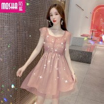 Dress Summer of 2019 Apricot Pink M L Middle-skirt singleton  Short sleeve commute V-neck High waist Solid color Socket One pace skirt routine Others 18-24 years old Moby shark Korean version Gauze lace More than 95% brocade polyester fiber Other polyester 95% 5% Pure e-commerce (online only)