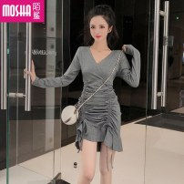 Dress Autumn of 2019 Grey black S M Short skirt singleton  Long sleeves commute V-neck High waist Solid color Socket Ruffle Skirt other Others 18-24 years old Type H Moby shark Korean version Auricularia auricula with ruffle MS31193# More than 95% brocade polyester fiber Other polyester 95% 5%