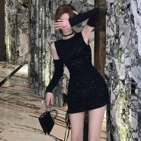 Dress Autumn 2020 black S M L XL Short skirt singleton  Short sleeve commute Crew neck High waist Solid color Socket One pace skirt other Others 18-24 years old Type H Moby shark Korean version Pleated Sequin MW1095# More than 95% brocade polyester fiber Other polyester 95% 5%