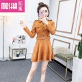 Dress Winter of 2018 Khaki black M L Short skirt singleton  Long sleeves commute Crew neck High waist Solid color zipper A-line skirt other Others 18-24 years old Type H Moby shark lady Splicing MS51698# More than 95% other polyester fiber Other polyester 95% 5% Pure e-commerce (online only)