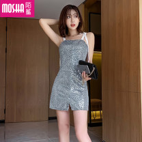 Dress Summer of 2019 silvery S M L Short skirt singleton  Sleeveless commute One word collar High waist Solid color Socket A-line skirt routine camisole 18-24 years old Moby shark Korean version Open back strap MS53709# More than 95% brocade polyester fiber Other polyester 95% 5%
