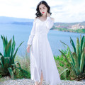 Dress Summer of 2019 White dfl19a0704 S M L longuette singleton  Long sleeves Sweet V-neck High waist Solid color Single breasted camisole 25-29 years old Type A Deelfolian / dove DFL19A0704 More than 95% other Viscose (viscose) 100% Bohemia Pure e-commerce (online only)
