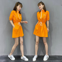 Dress Summer 2020 Orange Black S M L XL Middle-skirt singleton  Short sleeve commute other Elastic waist Solid color Socket other routine Others 25-29 years old Type X Liallyine / Miao Ying Korean version Embroidered lace up zipper MY2093 31% (inclusive) - 50% (inclusive) polyester fiber
