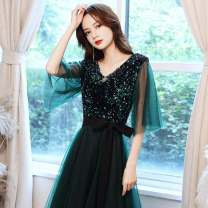 Dress / evening wear Company annual meeting XS S M L XL XXL XXXL Dark green Korean version longuette middle-waisted Winter 2020 Self cultivation Deep collar V zipper 18-25 years old ULH8172 elbow sleeve Solid color ULH routine Other 100% Pure e-commerce (online only)