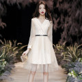 Dress / evening wear Weddings, adulthood parties, company annual meetings, daily appointments XS S M L XL XXL XXXL Korean version Medium length middle-waisted Spring 2020 Self cultivation Deep collar V Deep V style 18-25 years old elbow sleeve Solid color ULH Flying sleeve Other 100%