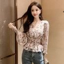 Lace / Chiffon Spring 2020 Black Pink S M L XL Long sleeves Sweet Self cultivation have cash less than that is registered in the accounts V-neck Decor 25-29 years old Yingxuelan TTLJ44371 Other 100% Pure e-commerce (online only) princess