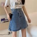 skirt Summer 2020 S M L XL Dark blue light blue Short skirt commute High waist A-line skirt Solid color 18-24 years old other Love of Shu Mei zipper Korean version Pure e-commerce (online only)