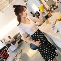 skirt Summer 2020 S M L XL black Mid length dress commute High waist Irregular Dot Type A 18-24 years old Chiffon Love of Shu Mei Lotus leaf edge Korean version