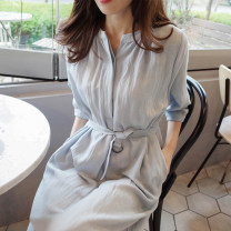 Dress Summer of 2019 wathet S M L XL Miniskirt singleton  Short sleeve commute middle-waisted Solid color 18-24 years old Love of Shu Mei Korean version More than 95% other Other 100%