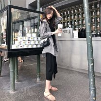 Dress Spring of 2019 S M L XL Mid length dress Two piece set Long sleeves commute Crew neck High waist lattice Socket A-line skirt shirt sleeve Others 18-24 years old Type A Love of Shu Mei Korean version B101 71% (inclusive) - 80% (inclusive) other polyester fiber Polyester 80% other 20%