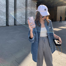 short coat Spring 2021 S M L XL Denim blue Long sleeves routine singleton  Straight cylinder commute routine V-neck Solid color 18-24 years old Love of Shu Mei 96% and above RRMM57741 other Other 100% Pure e-commerce (online only)