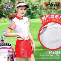 Golf apparel Printed stripe short sleeve, A-line embroidered skirt XS,S,M,L,XL female PGM t-shirt  YF174+KUZ054