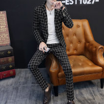 Suit Type Shang set Fashion City routine Self cultivation A single breasted button No slits Flat lapel autumn Other leisure XSJXFTZ188662182 youth Exquisite Korean style Polyester 94% viscose 6% Regular collar (collar width 7-9cm) lattice Fusible interlining process Fall 2018 Decorative loop