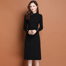 Dress Autumn 2020 M L XL 2XL longuette singleton  Long sleeves commute Crew neck Loose waist Solid color Socket A-line skirt routine Others 40-49 years old Type A Korean version thread More than 95% other Other 100% Pure e-commerce (online only)
