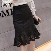 skirt Winter of 2019 S M L XL 2XL Mid length dress commute High waist A-line skirt Solid color 25-29 years old More than 95% Flute other Korean version Other 100%