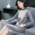 Dress Autumn of 2018 Silver grey (long sleeve) silver grey (medium sleeve) Black Long Sleeve Black medium sleeve S M L XL XXL XXXL XXXXL longuette singleton  Long sleeves commute stand collar Loose waist Solid color zipper A-line skirt other Others 30-34 years old Type H Zhufu lady ZF800005 other