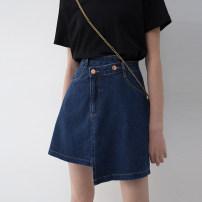 skirt Summer 2021 S M L XL navy blue Short skirt commute High waist Irregular Solid color Type A 25-29 years old More than 95% Denim Song flower cotton Korean version Cotton 100% Pure e-commerce (online only)