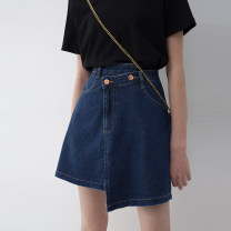 skirt Summer 2021 S M L XL navy blue Short skirt commute High waist Irregular Solid color Type A 25-29 years old More than 95% Denim Song flower cotton Korean version Cotton 100% Pure e-commerce (online only)