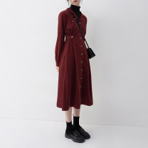 Dress Spring 2021 Dark red S M L longuette singleton  Long sleeves commute tailored collar High waist Solid color Single breasted A-line skirt routine Others 25-29 years old Type X Song flower Korean version Pleated pocket button More than 95% other polyester fiber Pure e-commerce (online only)