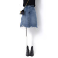 skirt Summer 2021 S M L XL blue Middle-skirt commute High waist Irregular Solid color Type A 25-29 years old SN2050105-200515 More than 95% Denim Song flower cotton Fringes worn out by hand Korean version Cotton 100% Pure e-commerce (online only)