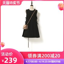 Dress Summer 2021 Black yellow S M L XL Short skirt singleton  Sleeveless Sweet Crew neck Loose waist Solid color Socket A-line skirt other Others 25-29 years old Type A Song flower Bow tie More than 95% other polyester fiber Ruili Pure e-commerce (online only)