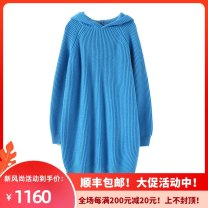 sweater Winter 2020 Average size Lake blue Long sleeves Socket singleton  Medium length other 95% and above Hood thickening commute routine Solid color Straight cylinder Regular wool Keep warm and warm 25-29 years old Qichao (clothing) QC---SS196 Cashmere (cashmere) 100% Pure e-commerce (online only)