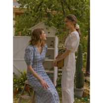 Dress Summer 2020 White, blue check XS,S,M Mid length dress singleton  Short sleeve commute V-neck High waist lattice other other puff sleeve Others 25-29 years old Type H RC-DAILYART Retro 02L500 51% (inclusive) - 70% (inclusive) other cotton