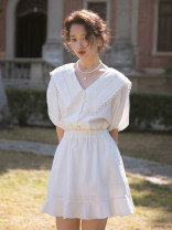 Dress Spring 2021 Pearl white long, pearl white short, pearl white long | pre sale, pearl white short | pre sale, pearl white long | pre sale 2, pearl white short | pre sale 2 XS,S,M Mid length dress singleton  elbow sleeve commute V-neck High waist Solid color other A-line skirt routine Others Retro