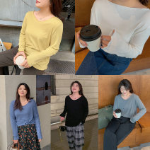 Women's large Spring 2021 White, yellow, gray, black, blue Large XL, 2XL, 3XL, 4XL T-shirt singleton  commute easy moderate Socket Long sleeves Solid color Korean version V-neck Medium length cotton routine Custom made small cabbage 18-24 years old 96% and above