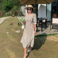Women's large Summer 2021 Apricot flowers Large XL, 2XL, 3XL, 4XL Dress singleton  commute easy thin Conjoined Short sleeve Broken flowers Korean version V-neck polyester Three dimensional cutting routine Custom made small cabbage 18-24 years old 96% and above Medium length Princess Dress