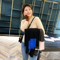 Women's large Winter of 2019 Black + blue sleeves, grey + pink sleeves, black + grey sleeves, apricot + Khaki sleeves Large XL, 2XL, 3XL, 4XL Other oversize styles singleton  commute Self cultivation thin Socket Long sleeves shape Korean version High collar Medium length cotton Collage routine