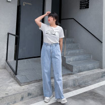 Women's large Summer 2020 wathet Jeans singleton  commute easy moderate Solid color Korean version Denim Three dimensional cutting Custom made small cabbage 18-24 years old 96% and above trousers