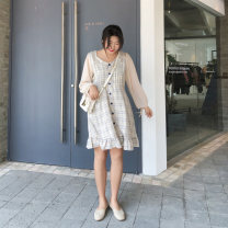 Women's large Autumn 2020 Beige Large XL, 2XL, 3XL, 4XL, 5XL Dress singleton  commute easy moderate Socket Long sleeves lattice Korean version square neck polyester puff sleeve Custom made small cabbage 18-24 years old 81% (inclusive) - 90% (inclusive) Medium length other