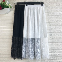 skirt PU Type A Lace Winter of 2019 More than 95% other longuette Natural waist Versatile Pleated skirt Solid color 157724726832305 Simixue Hollowing out S M L XL 2XL White with lining, black with lining