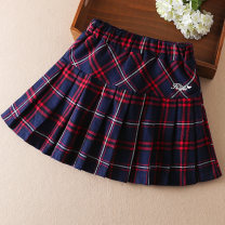 skirt 110cm 120cm 130cm 140cm 150cm 160cm Blue Plaid Shirt Beige Kuyebeam / kuyebear female Cotton 100% spring and autumn skirt college lattice Pleats cotton T01067 Class B Summer 2020