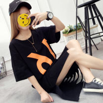 Dress Spring of 2018 M L XL XXL longuette singleton  Short sleeve commute Crew neck middle-waisted Cartoon animation Socket One pace skirt routine Others 18-24 years old Type H Charming fragrance Korean version 51% (inclusive) - 70% (inclusive) other polyester fiber Pure e-commerce (online only)
